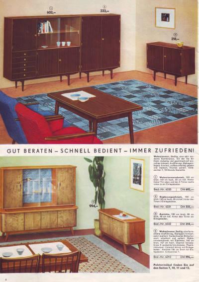 konsum katalog versandhandel 1962 wohnen in der ddr seite 6 7. Black Bedroom Furniture Sets. Home Design Ideas