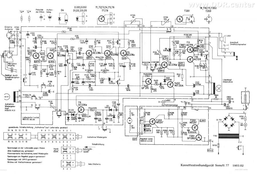 Schaltplan Sonett 77 - Kassettenrecorder vom VEB RFT Sternradio ...