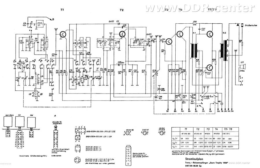 Schaltplan Autoradio Stern Trophy 1800 - RFT Kombinat VEB Stern ...
