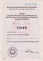 Visum für die Einreise von Westberlin in die DDR