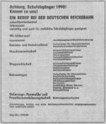 Ausbildungsangebote der deutschen Reichsbahn 1989