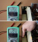 Die elektromagnetische Abstrahlung des Adrett Transistor induziert im Multimeter eine Spannung