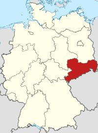 Lage von Freistaat Sachsen in Deutschland