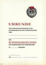 Urkunde Schiessabzeichen der Kampfgruppen