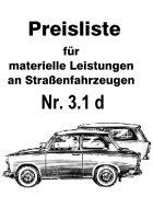 Preisliste Trabant Reparaturen