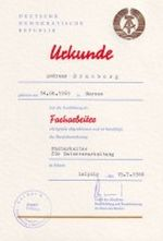 Urkunde zur erfolgreichen Facharbeiterausbildung