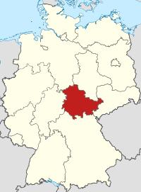 Lage von Freistaat Thüringen in Deutschland