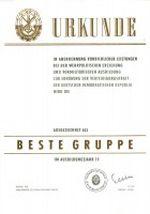 Urkunde Gruppenauszeichnung der GST